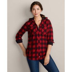 Eddie Bauer Favorite Flannel Hooded Shirt Jacket